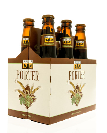 Winneconne, WI - 28 October 2017:  A six pack of Bells Porter beer from Comstock, Michigan on an isolated background.