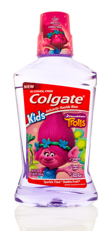 Winneconne, WI - 31 October 2017:  A bottle of Colgate for kids featuring Trolls on an isolated background. Editorial