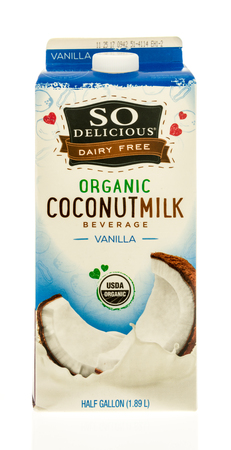 Winneconne, WI - 31 October 2017:  A carton of So Delicious dairy free coconut milk on an isolated background.