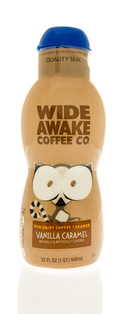 Winneconne, WI - 31 October 2017:  A bottle of wide awake coffee company coffee creamer on an isolated background. Editorial