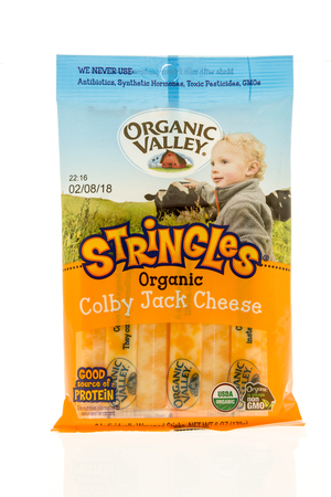 Winneconne, WI - 31 October 2017:  A package of stringles from Organic Valley on an isolated background. Editorial