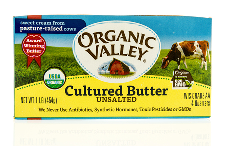Winneconne, WI - 31 October 2017:  A package of cultures butter from Organic Valley on an isolated background.