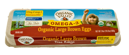 Winneconne, WI - 31 October 2017:  A dozen organic large eggs from Organic Valley on an isolated background.