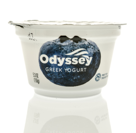 Winneconne, WI - 31 October 2017:  A container of Odyssey Greek yogurt on an isolated background.