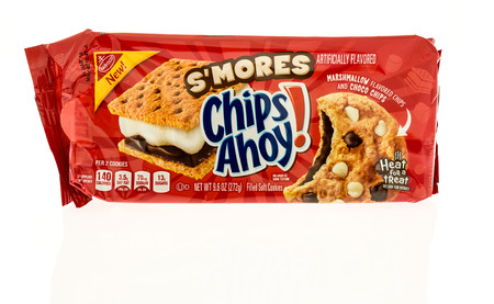 Winneconne, WI - 31 October 2017:  A package of Chips Ahoy in Smores flavor on an isolated background.