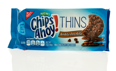 Winneconne, WI - 31 October 2017:  A package of Chips Ahoy thins in double chocolate on an isolated background.