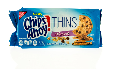 Winneconne, WI - 31 October 2017:  A package of Chips Ahoy thins in oatmeal on an isolated background. Editorial