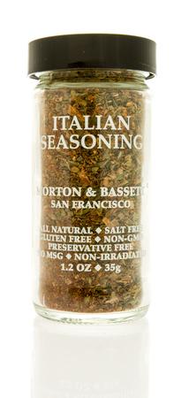 Winneconne, WI - 31 October 2017:  A bottle of Morton & Bassett Italian seasoning on an isolated background. Editorial