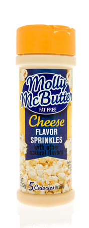 Winneconne, WI - 31 October 2017:  A bottle of Molly McButter cheese flavor sprinkes on an isolated background.