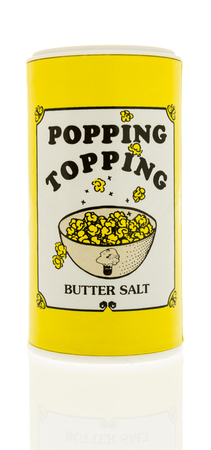Winneconne, WI - 31 October 2017:  A bottle of Popping Topping butter salt on an isolated background. Editorial