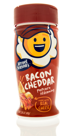 Winneconne, WI - 31 October 2017:  A bottle of Kernel Seasons bacon cheddar on an isolated background.