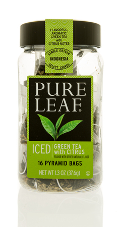 Winneconne, WI - 31 October 2017:  A container of Pure Leaf tea bags on an isolated background. Editorial