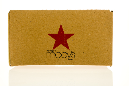 Winneconne, WI - 1 November 2017:  A box from Macys used to ship products when ordered online on an isolated background.