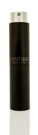 Winneconne, WI - 1 November 2017:  A bottle of Scent Bird cologne that changes monthly on an isolated background.