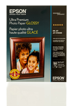 Winneconne, WI - 1 November 2017:  A package of Epson Ultra premium photo glossy paper on an isolated background. Editorial