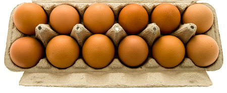 A dozen brown eggs in a carton on an isolated background. Imagens