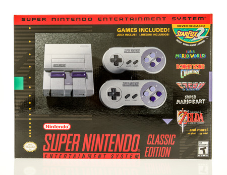 Winneconne, WI - 1 November 2017:  A box that contains the Super Nintendo classic edition  on an isolated background. Editorial