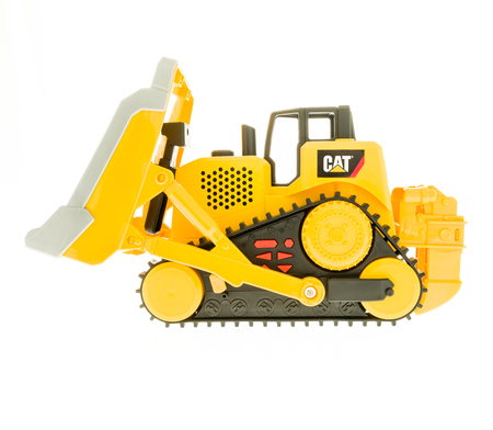 Winneconne, WI - 19 November 2017:  A toy CAT bulldozer on an on an isolated background. Editorial