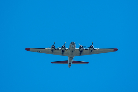 Oshkosh, WI - 24 July 2017:  A B-17 Bomber flying overhead. B-17 bomber was used during World War II. Editorial