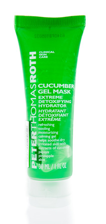 Winneconne, WI - 14 December 2017: A tube of Peter Thomas Roth cucumber mask on an isolated background. Editorial