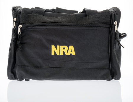 Winneconne, WI -24 Dec 2017: A bag with the NRA Logo on an isolated background.