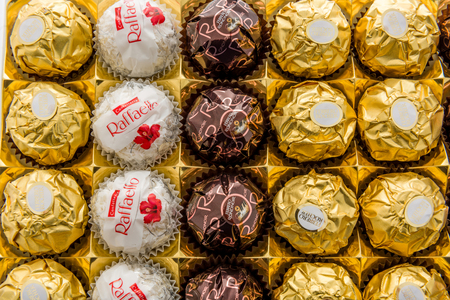 Winneconne, WI -30 December 2017: A close up shot of Ferrero collection chocolate assortmant on an isolated background.