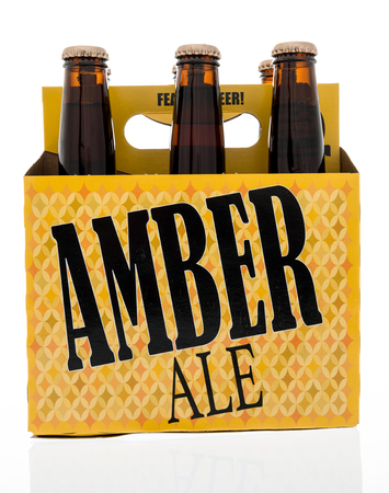 Winneconne, WI -31 December 2017: A six pack of Amber Ale beer from Bare Bones Brewery on an isolated background.