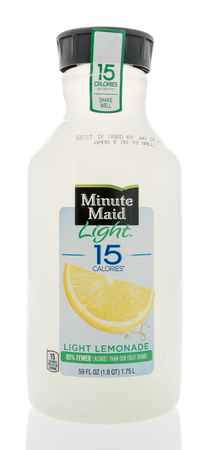 High Quality Stock Photo   Winneconne, WI   31 December 2017: A Bottle Of Minute Maid  Light Lemonade With Only 15 Calories On An Isolated Background.