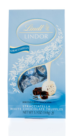 Winneconne, WI -4 Janurary 201: A bag of Lindt Lindor  stracciatella white chocolate truffles on an isolated background.