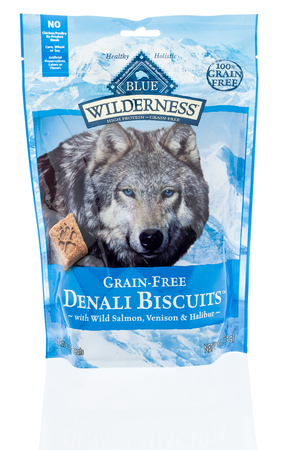Winneconne, WI -6 January 2018: A bag Blue Wilderness denali biscuits dog treats on an isolated background. Editorial