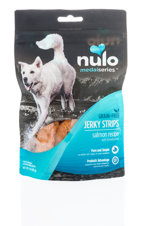 Winneconne, WI -6 January 2018: A bag of Nulo medal series jerky dog treats on an isolated background.