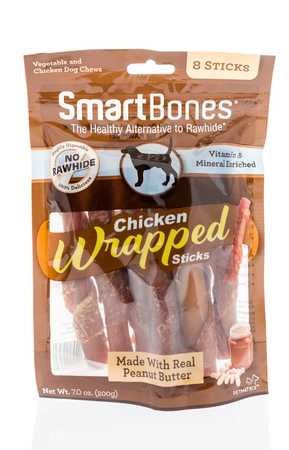 Winneconne, WI -6 January 2018: A bag of Smart Bones dog treats on an isolated background. Editorial