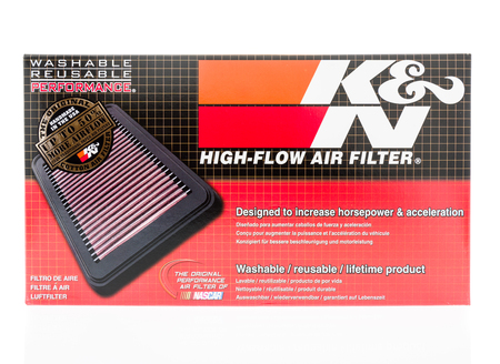 Winneconne, WI - 7 January 2018: A K&N high flow air filter on an isolated background. Editorial