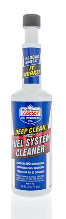 Winneconne, WI - 7 January 2018: A bottle of Lucas oil products deep clean fuel system cleaner on an isolated background.