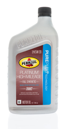 Winneconne, WI - 7 January 2018: A bottle of Pennzoil platinum high mileage on an isolated background.