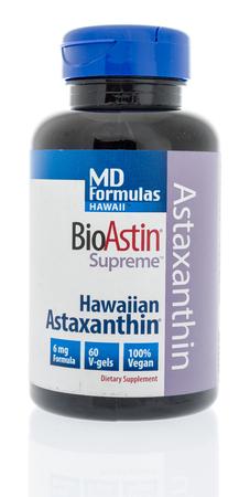 Winneconne, WI - 10 January 2018: A bottle of MD Formulas Bioastin supreme Hawaiian Astaxanthin on an isolated background. Editorial