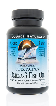 Winneconne, WI - 10 January 2018: A bottle of Source Naturals fish oil on an isolated background.