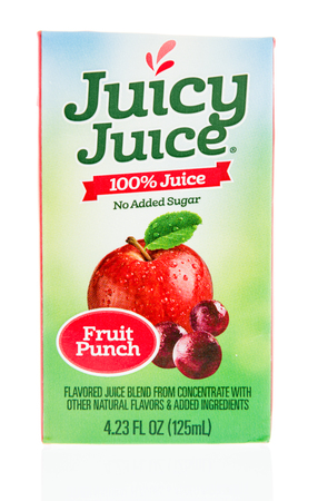 Winneconne, WI - 12 January 2018: A box Juicy Juice in fruit punch flavor on an isolated background.