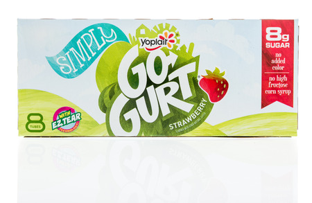 Winneconne, WI - 12 January 2018: A package of Yoplait Simply Go-Gurt in strawberry flavor on an isolated background.