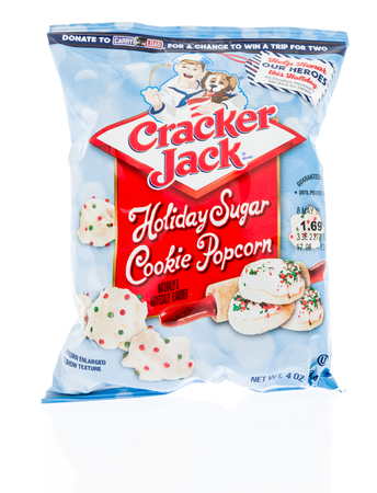 Winneconne, WI - 12 January 2018: A bag of Cracker Jack holiday sugar cookie popcorn on an isolated background. Editorial