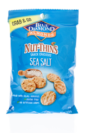 Winneconne, WI - 12 January 2018: A bag of Blue Diamond Almonds nut thins snack crackers in sea salt flavor on an isolated background.