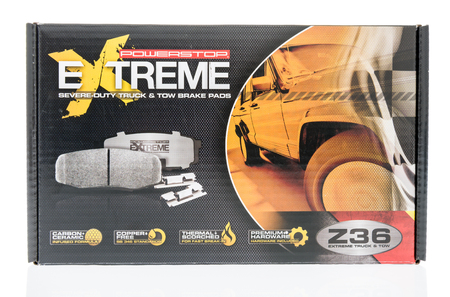Winneconne, WI - 12 January 2018: A box of Powerstop extreme brake pads on an isolated background.