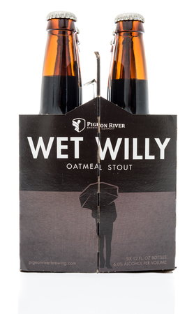 Winneconne, WI - 17 January 2018: A six pack of Wet Willy oatmeal stout beer on an isolated background.