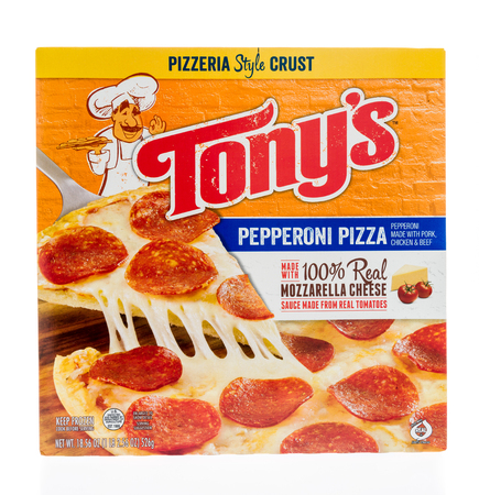 Winneconne, WI - 17 January 2018: A box of Tonys pepperoni pizza on an isolated background.
