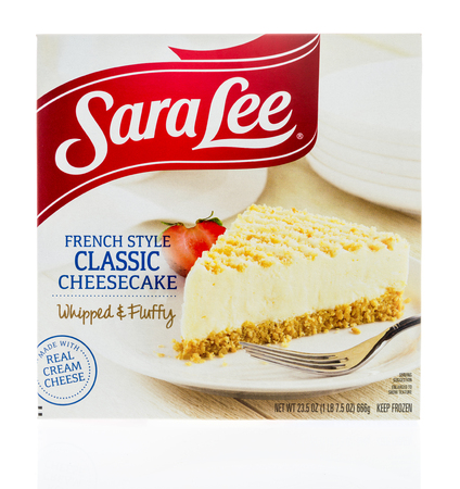 Winneconne, WI - 17 January 2018: A package of Sara Lee French style classic cheesecake on an isolated background.