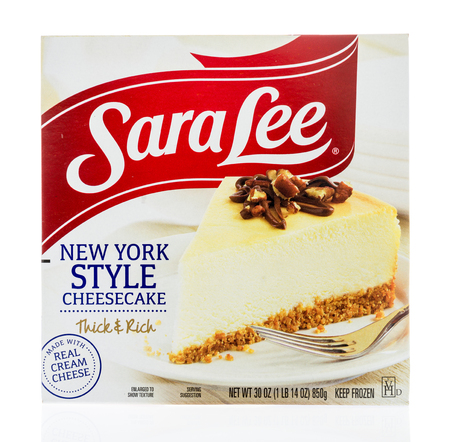 Winneconne, WI - 17 January 2018: A package of Sara Lee New York style cheesecake on an isolated background. Editorial