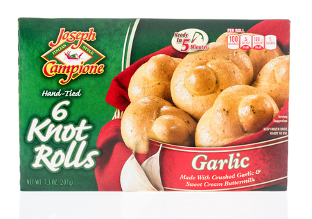 Winneconne, WI - 17 January 2018: A package of  Joseph Campione garlic knot rolls on an isolated background. Editorial