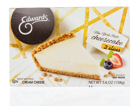 Winneconne, WI - 17 January 2018: A package of  Edwards New York style cheesecake on an isolated background. Editorial
