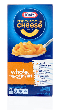 Winneconne, WI - 18 January 2018: A box of Kraft macaroni and cheese in whole grain on an isolated background.