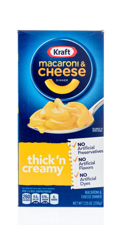 Winneconne, WI - 18 January 2018: A box of Kraft macaroni and cheese in thick n creamy on an isolated background. Editorial